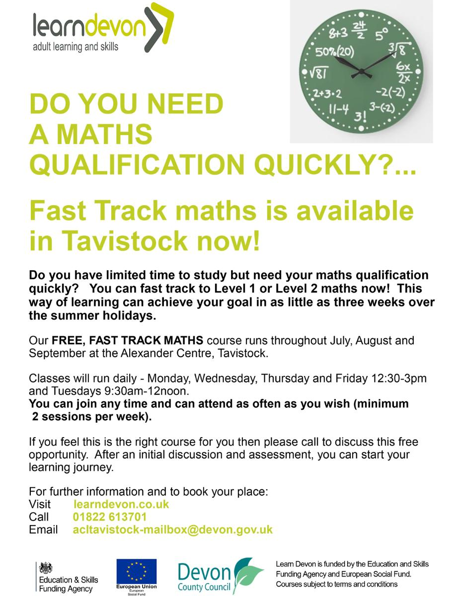 Open poster of Fast Track maths course