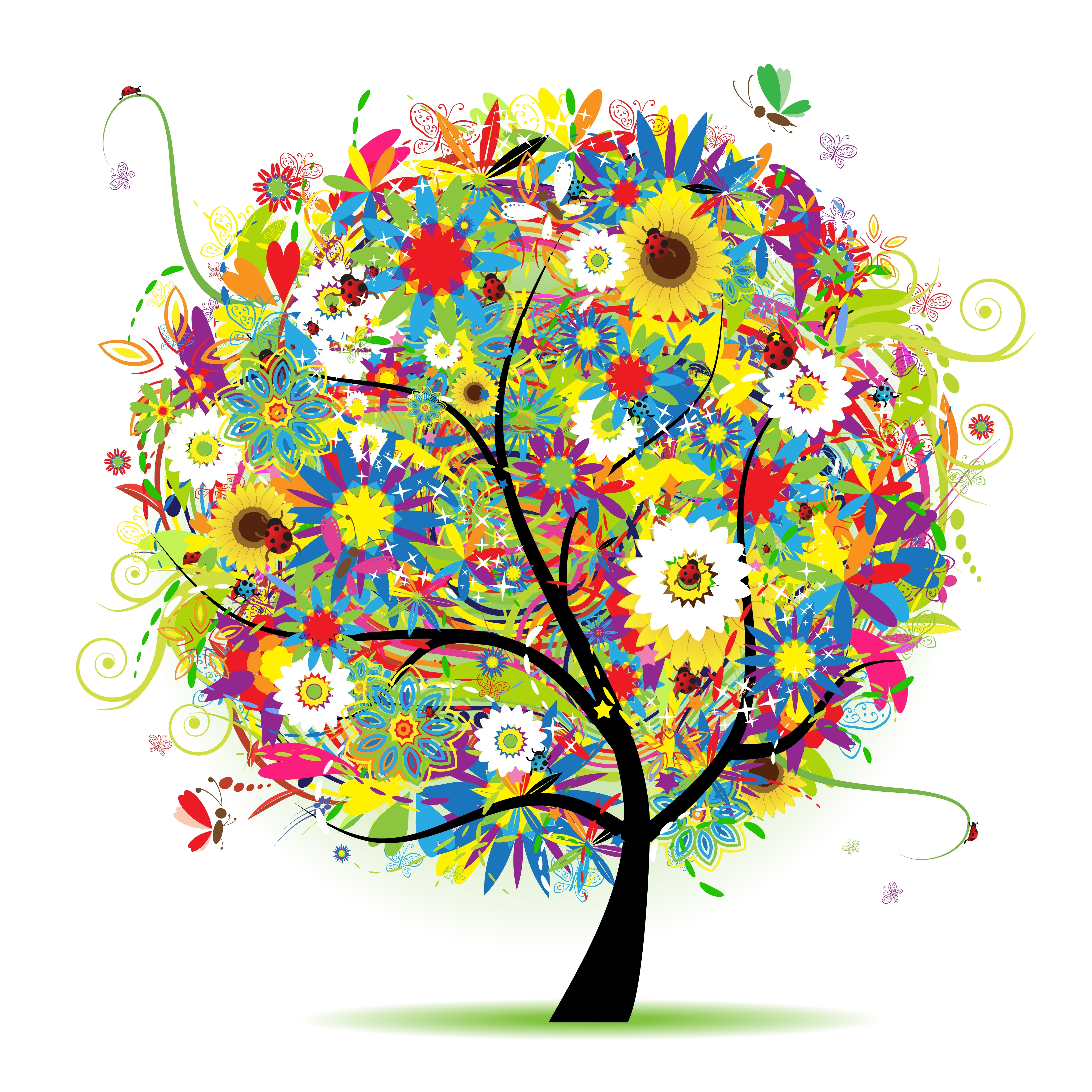 Graphic of tree filled with flowers and wildlife