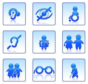 A range of images showing various disability icons such as blind or deaf
