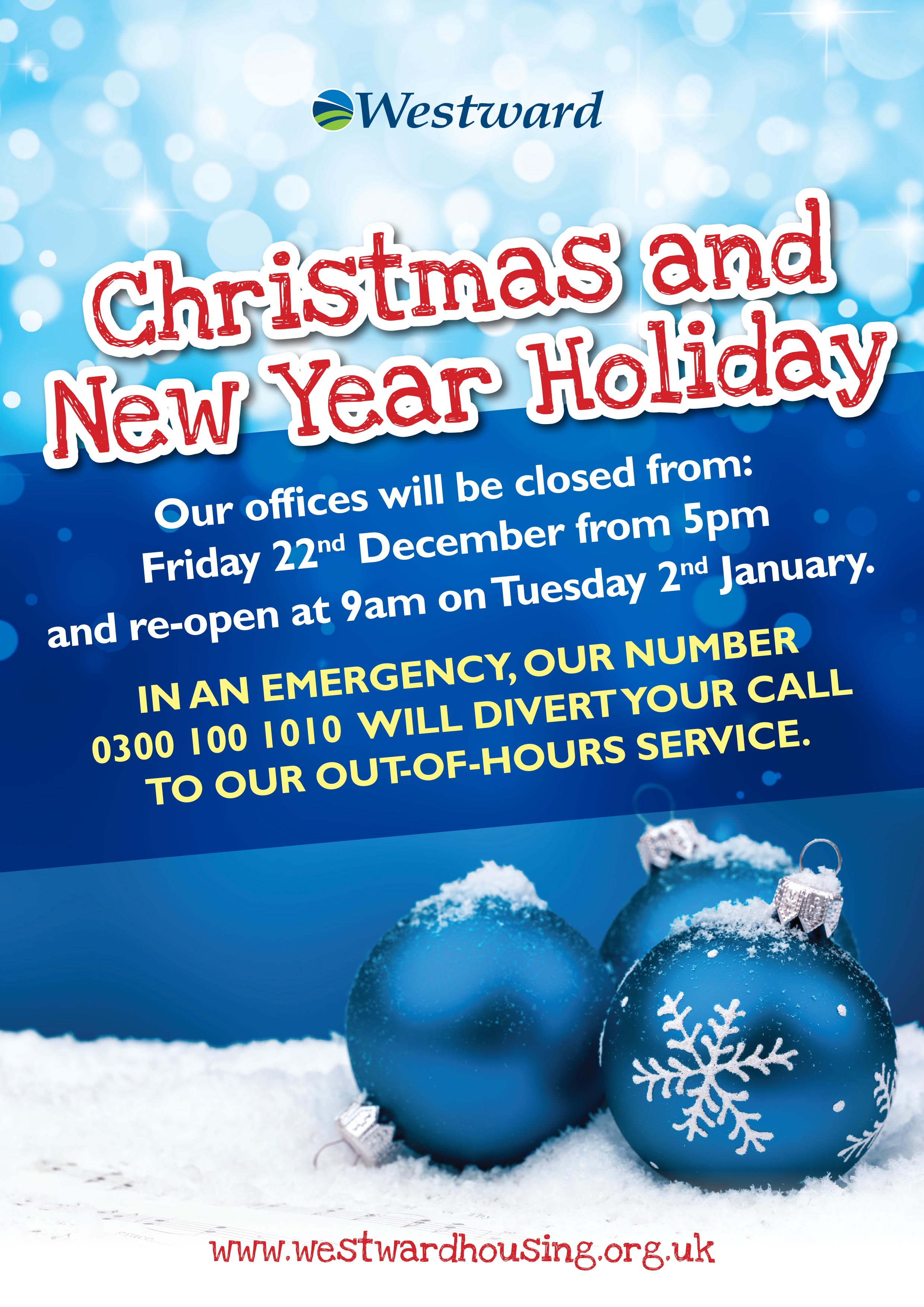 Christmas and New Year Closing Dates