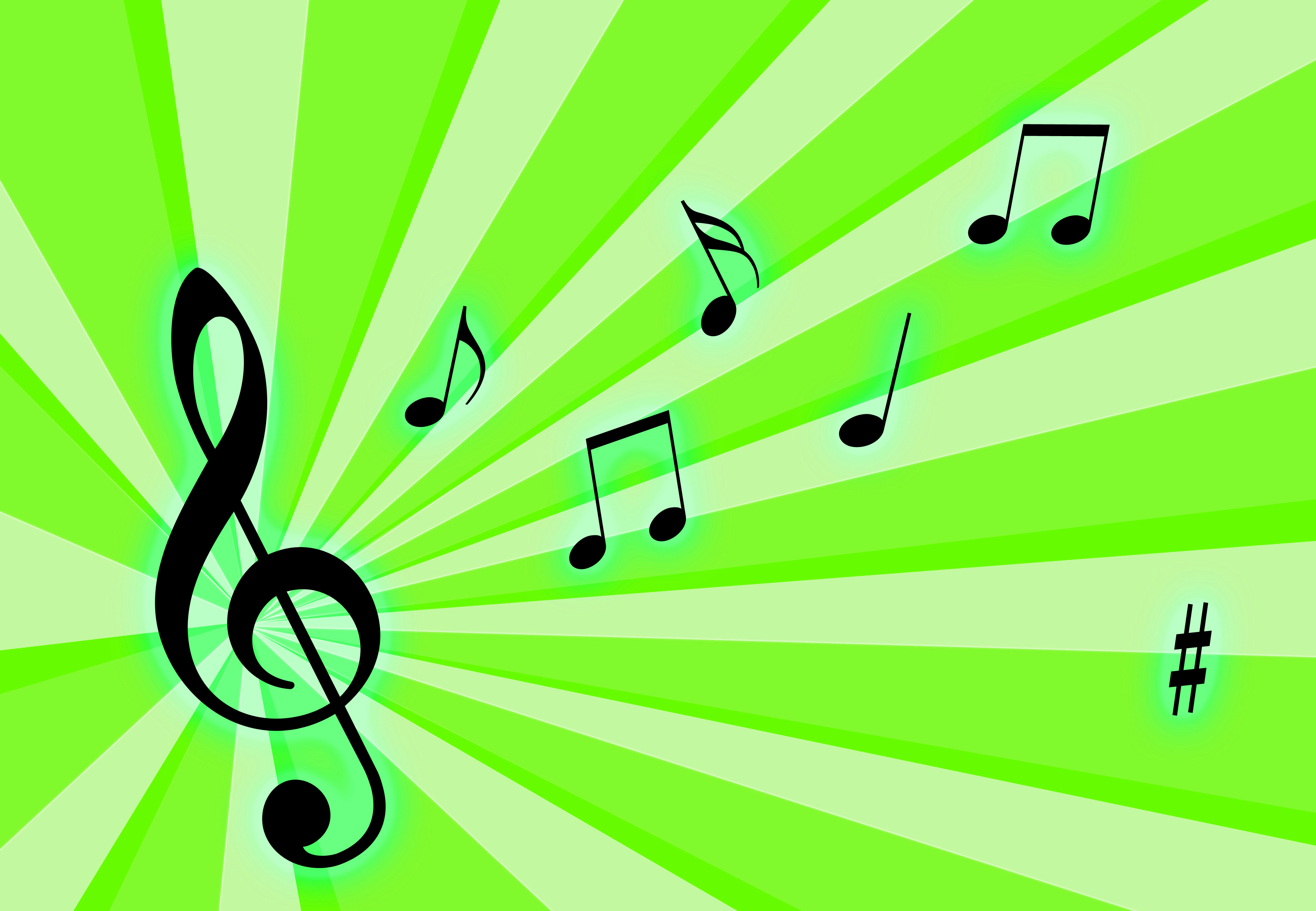Musical notes one bright neon green background image